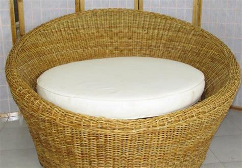Poltrona Relax Rotonda In Midollino Naturale Cm 125