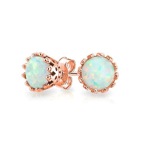 sterling silver  crown white opal stud earrings