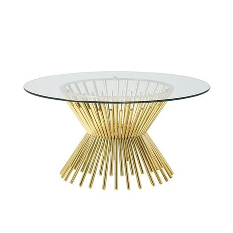 Table baroque style coffee table gold with glass top #mb45. Berwyn Glass Coffee Table Round In Gold Plated Legs ...