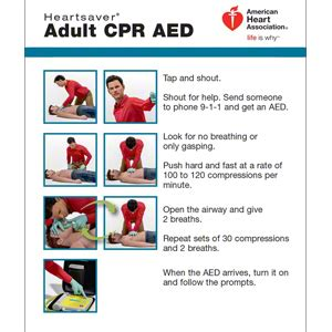 aha  heartsaver adult cpr aed wallet card  pk