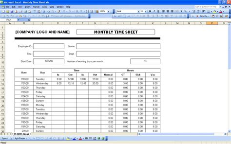monthly timesheet template excel time sheets excel templates
