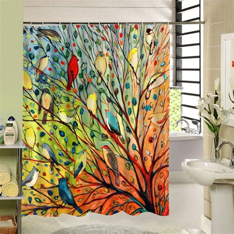 abstract tree  birds shower curtain fabric colorful