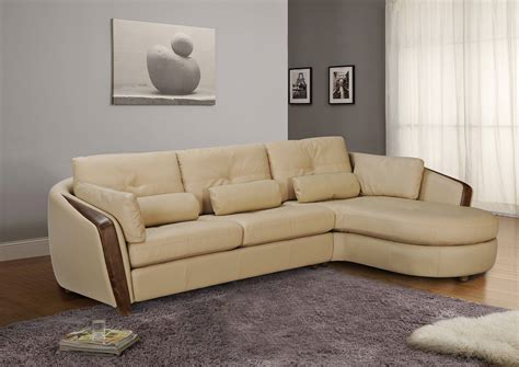 Leather Sectional by Taupe Bonded Leather Sectional Sofa With Ash Wood Accent