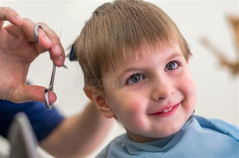 Cute Boy Getting Haircut Stock Image. Image Of Hair, Scissors Indiana Pa Men S Haircut Michelle Dockery Long A Line 2017 Haircuts For Oval Face What Would Suit Me Male Very Short Natural Black Women Gender Neutral Jessica Alba Bob