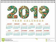 2019 Desk Calendar Vector Horizontal A4 White Printable