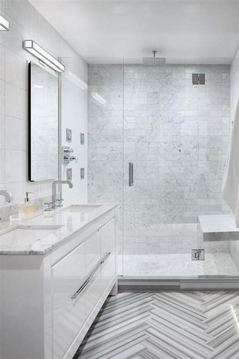 modern bathroom features  white lacquer vanity topped