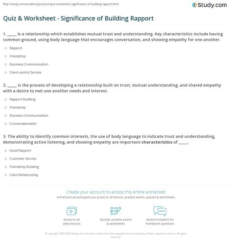 quiz worksheet significance  building rapport