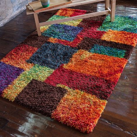 multicolor shag rug canterbury bright multicolor contemporary abstract plush shag rug 3 9x5 6 ebay