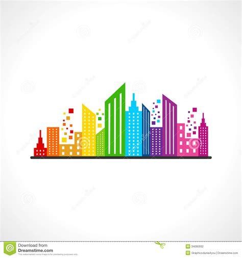 abstract colorful building design stock vector image