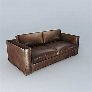 Berlin aged brown leather sofa 3d model max obj 3ds fbx for Couch sofa zu verschenken berlin