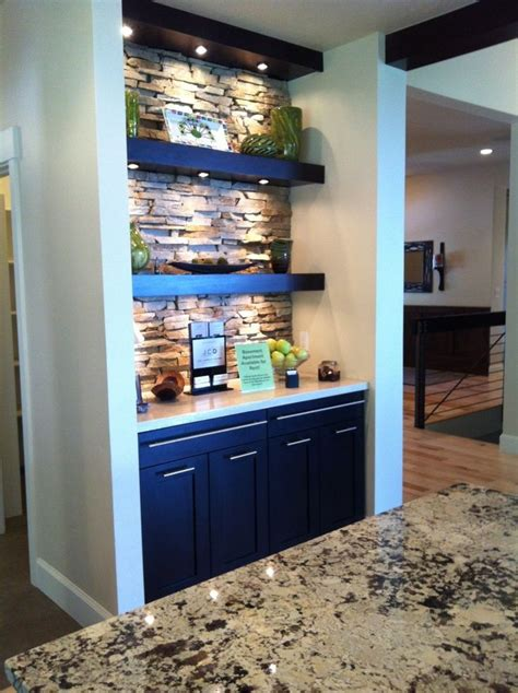 image result  recessed shelving wet bar stone