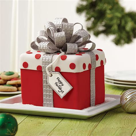 christmas gift box fondant cake  bow wilton
