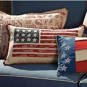 Hand painted American Flag Lumbar Pillow Modern