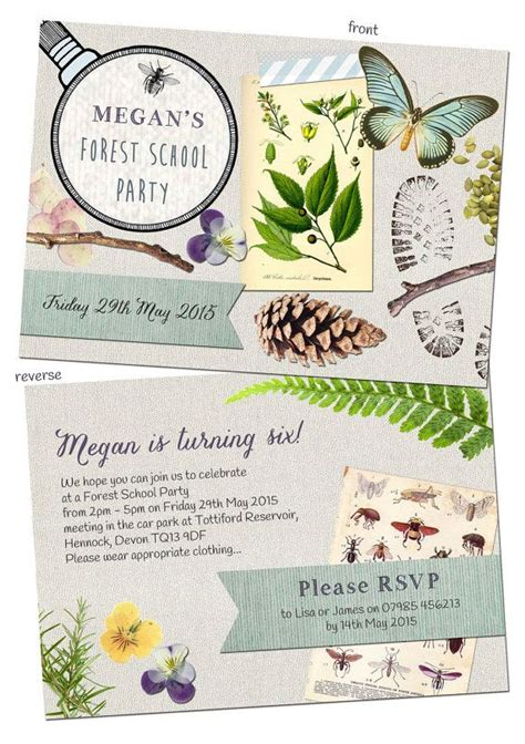 Personalised Nature Trail / Forest School Party Invitation