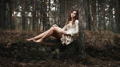 Woods Barefoot Woman Models Forest Nature Wallpapers
