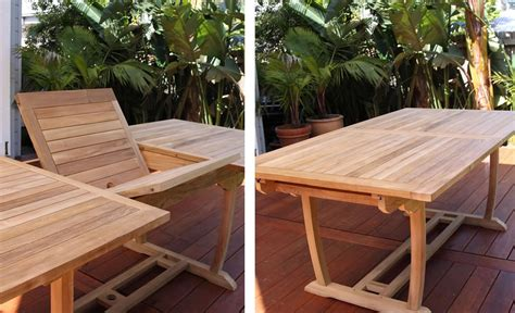 teak rectangle extending outdoor dining table  cm
