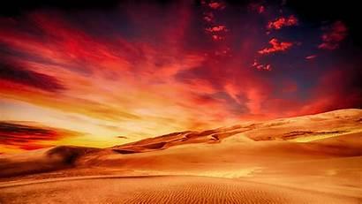 Desert Sunset Skyline Sahara Dunes Clouds Sand