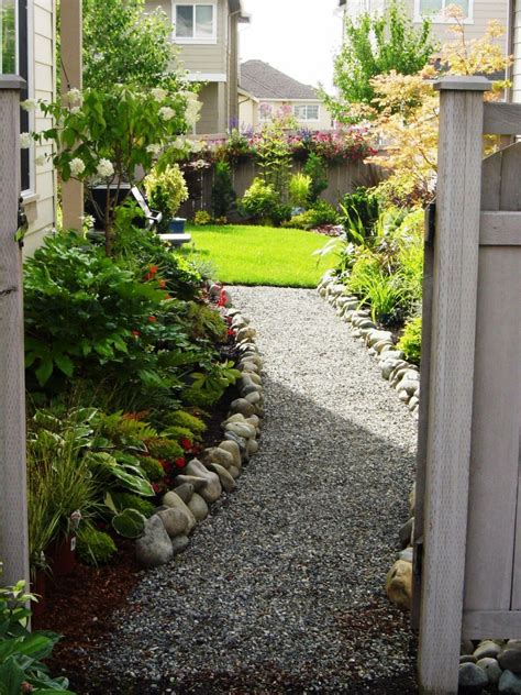 landscaping narrow spaces narrow side yard house design with small vegetable garden spaces and white gravels with stone
