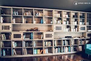 Bibliothèque Murale Bois : biblioth que sur mesure espace bois ~ Premium-room.com Idées de Décoration