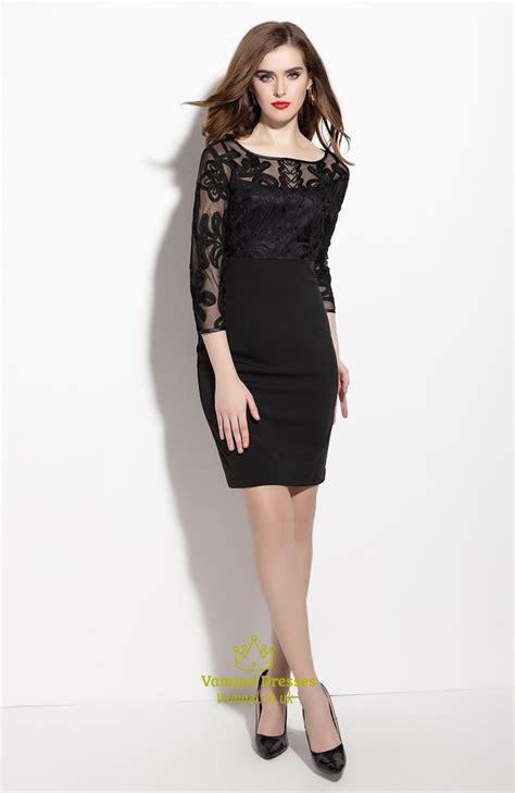 black sheer illusion neckline sheath dress   length