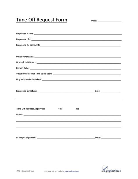 5 Vacation Request Form Templates - Excel xlts