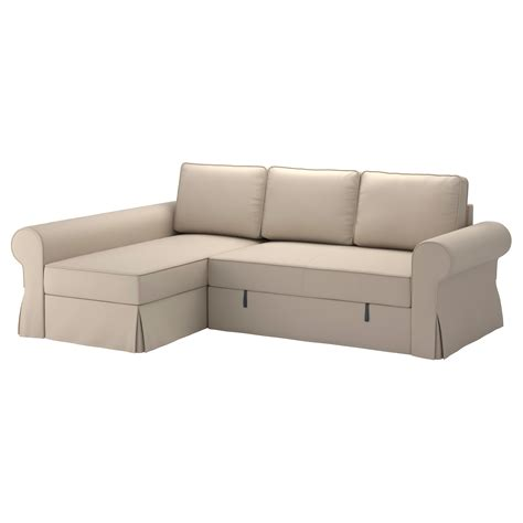 chaise beige backabro sofa bed with chaise longue ramna beige ikea