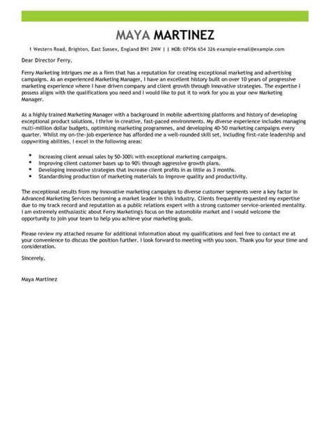 Free Covering Letter Template Uk by Marketing Manager Cover Letter Exles For Marketing