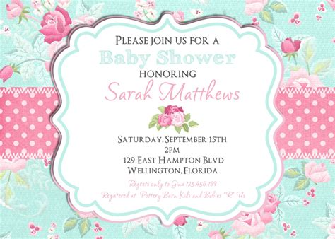 shabby chic baby shower invites shabby chic baby shower invitation girl baby shower