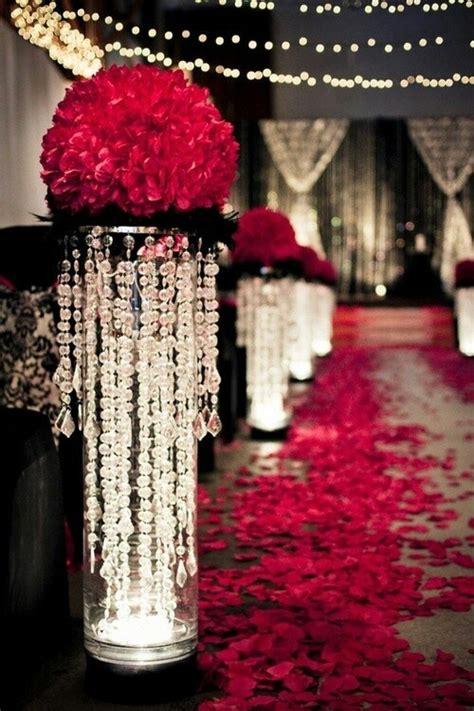 stunning wedding red black white hall decoration