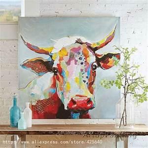 Toile De Mur : id e relooking cuisine vache peinture l 39 huile sur le mur de toile animaux peintures pour mur ~ Teatrodelosmanantiales.com Idées de Décoration