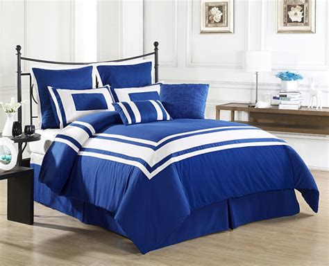 Navy And White Comforter Set Simple Bedroom With 7 Piece