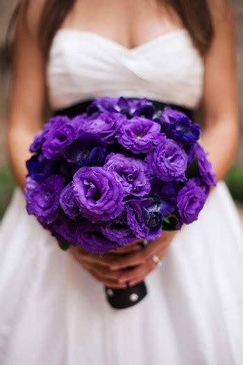 purple wedding flowers coordinated