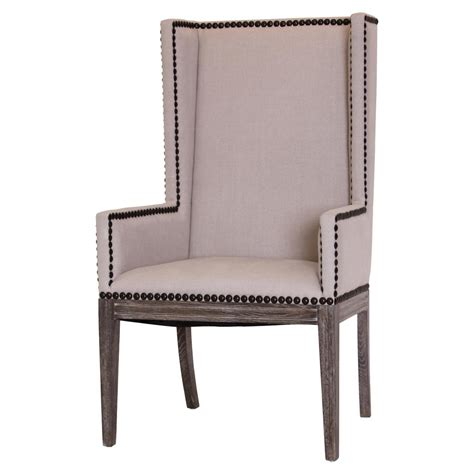 Lionel Modern Taupe Wing Highback Nailhead Dining Room ...