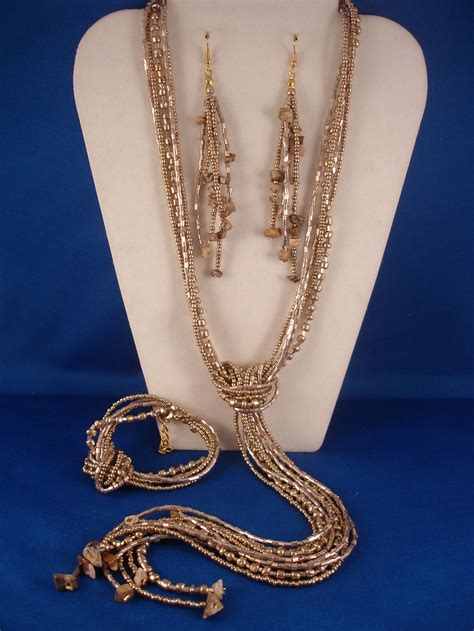Beige Beads & Genuine Stones Contemporary Jewelry Set of ...