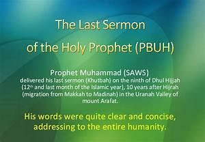 Last sermon of the holy prophet pbuh