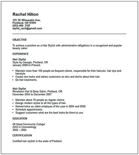 Hair Stylist Resume Objective by Hair Stylist Resume Is A Must Thing To And To Offer