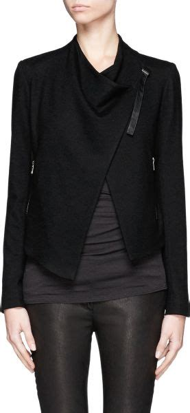 Helmut Lang Draped Jacket - helmut lang sonar woolen draped front cropped jacket in