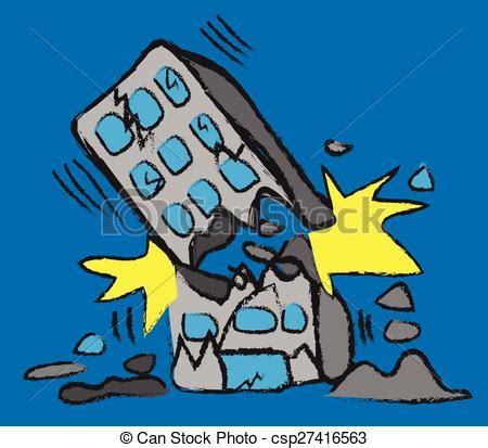 Clip Art Vector Of Doodle Building Earthquake, Vector