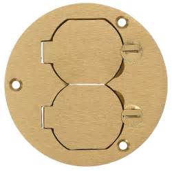 hubbell s3925 round floor box cover brass crescent