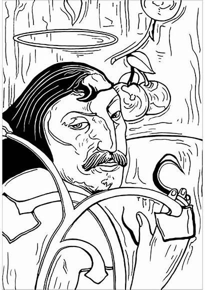 Coloring Portrait Pages Self Gauguin Paul Halo
