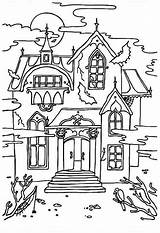 Coloring Cartoon Haunted Pages Mansion Popular sketch template