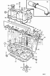 Volvo Penta Exploded View    Schematic Cylinder Head Md2020-c  Md2020-d