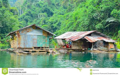 floating home cheow lan lakein thailand royalty  stock images image