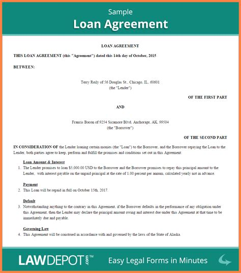 personal loan agreement  friends purchase