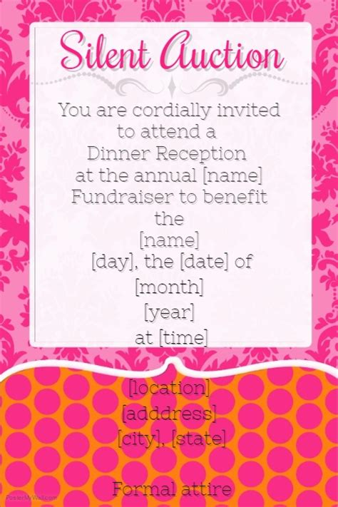 Silent Auction Invitation Flyer Template Small Business Pink Silent Auction Dinner Reception Fundraiser