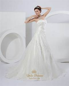 ivory a line strapless chapel train wedding dresses with With ivory a line wedding dress