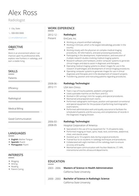 Radiologist Resume by Radiologist Resume Sles Templates Visualcv