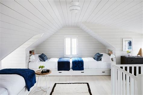 light gray shiplap built  beds cottage girls room