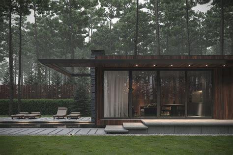 modern single story forest house  pool  ukraine