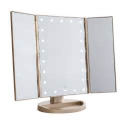 gold lighted makeup mirror impressions vanity co touch 3 0 trifold dimmable led